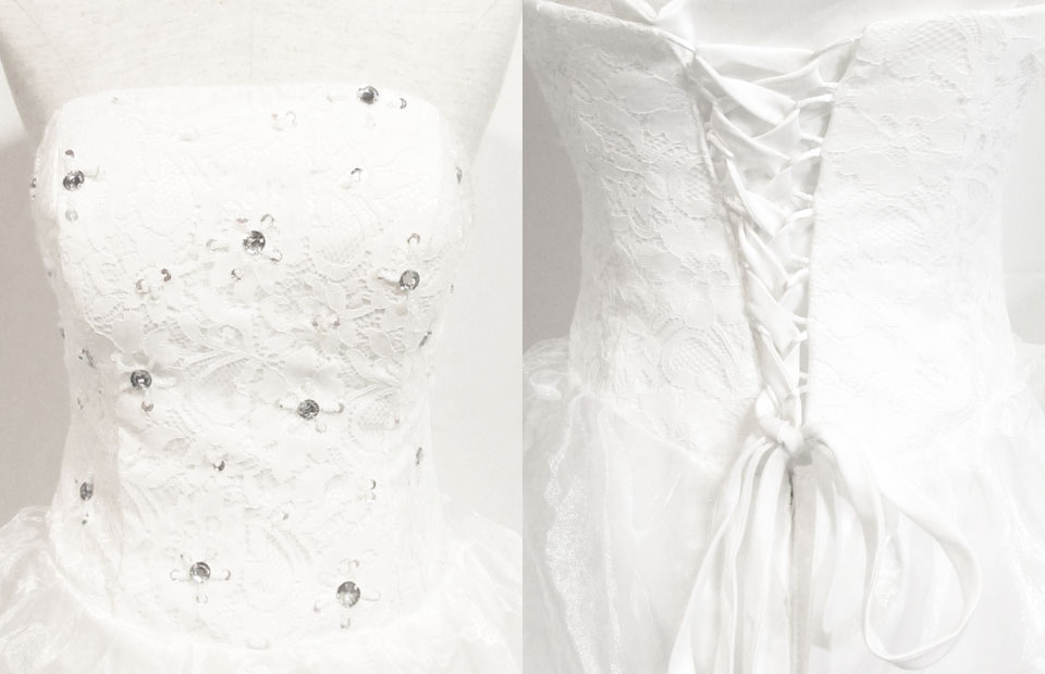 66613493da9df  中古品 ウエディングドレスミニドレス ホワイトフリル ビジュー二次会 鹿児島店  画像を拡大する